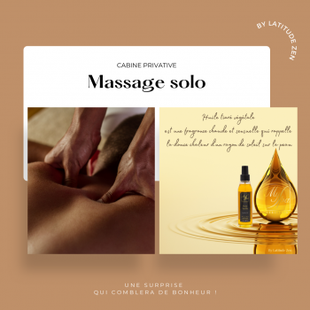 Massage solo parfumé huile tiaré 1h latitude zen